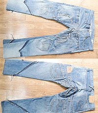 일본판 Denim Blue rebuilt remake processing paper Levi Pants! 33~34사이즈!